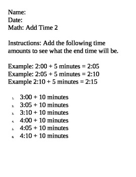 Math Time Skills - add and subtract 5 or 10 minutes