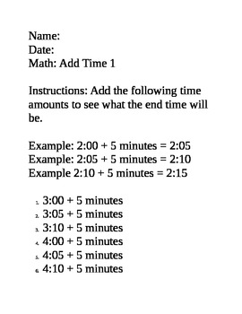 Math Time Skills - adding and subtracting 5 & 10 minutes sample worksheets
