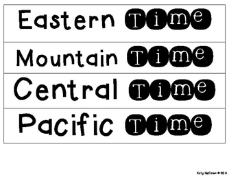 Math Time Zone Clock Labels FREEBIE