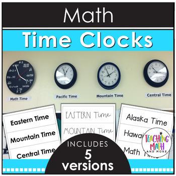 Math Time Zone Clock Labels FREEBIE