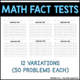 Math Timed Tests: 13 Variations Included (50 questions each)