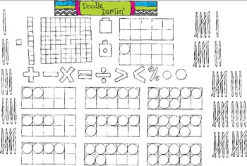 Math Tool Box Black and White Clipart Set