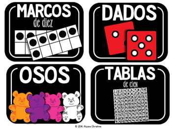 Math Tools/Manipulatives Labels in Spanish