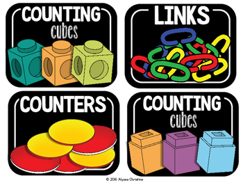 Math Tools/Manipulatives Labels