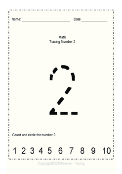 Math Tracing Big Numbers (1-10)