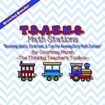 Math Train Stations Growing Bundle