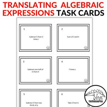 Math Translating Algebraic Expressions Task Card Set