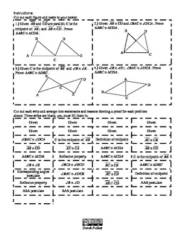 Math: Triangle Congruence Proofs Cut-out Activity ( 2-column proofs)