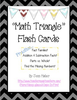 'Math Triangle' Flash Cards, Fact Families, Addition and Subtraction Facts