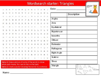 Math Triangles Wordsearch Crossword Anagram Alphabet Keyword Starters
