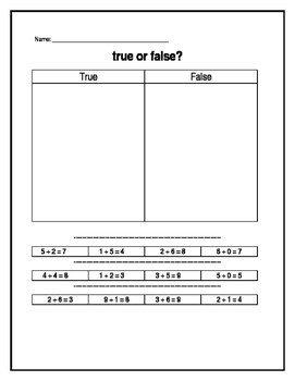 Math True/False worksheet