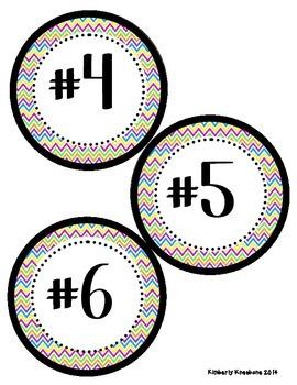Math Tub Center Cards Organization (1-20) - Colorful Chevron