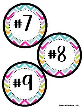 Math Tub Center Cards Organization (1-20) - Pretty Chevron