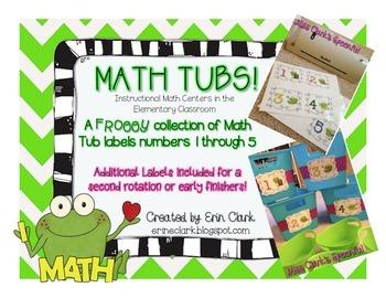 Math Tub Labels 1-5 {Froggy Edition!}