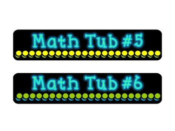 Math Tub Labels: Black, Lime, Turquoise