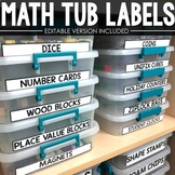 Math Tub Labels (Editable)