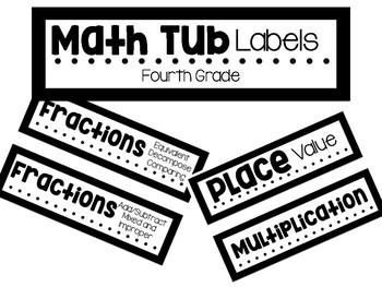 Math Tub Labels- Fourth Grade