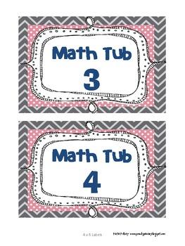 Math Tub Labels - Multiple Designs