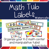 Math Tub Labels - Watercolor