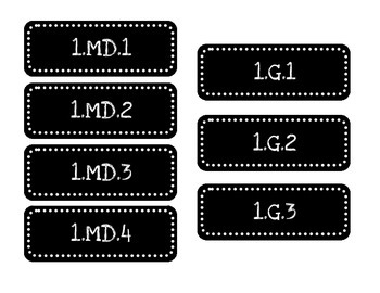 Math Tub Labels by Standard - First Grade