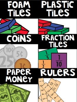 Math Tub/ Manipulative Labels- White Background with BLACK Banner