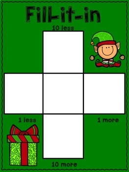 10 more, 10 less, Fill in the 100's Chart - Christmas Themed