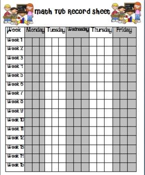 Math Tubs Record Sheet