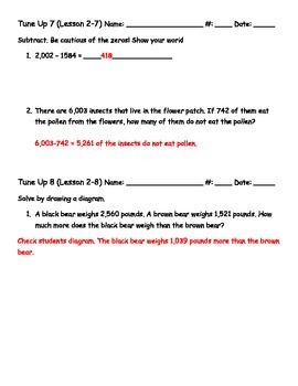 Math Tune Ups - McGraw Hill Ch 2 - Add and Subtract Whole Numbers
