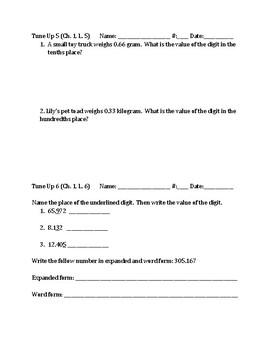 Math Tune Ups - FIFTH Grade - McGraw Hill Ch. 1 - Place Value