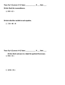 Math Tune Ups - FIFTH Grade - McGraw Hill Ch. 4 - Divide by a Two Digit Divisor