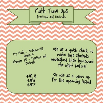 Math Tune Ups - McGraw Hill Ch. 10 Fractions and Decimals