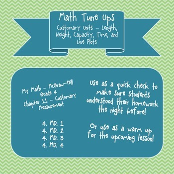 Math Tune Ups - McGraw Hill Ch. 11 Customary Measurement