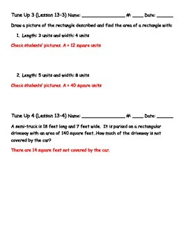 Math Tune Ups - McGraw Hill Ch. 13 Perimeter and Area