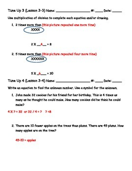 Math Tune Ups - McGraw Hill Ch. 3 - Understand Multiplication and Division