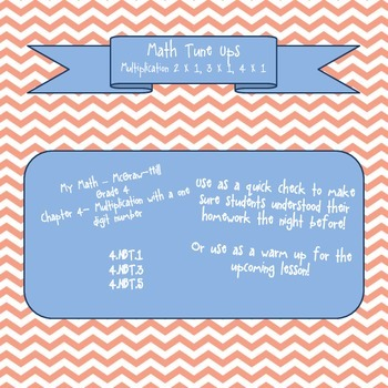Math Tune Ups - McGraw Hill Ch. 4 - Multiplication with a One Digit Number