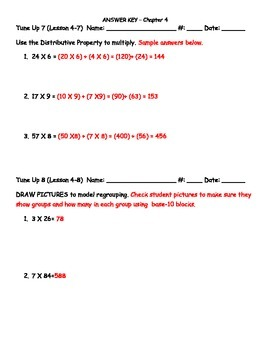Math Tune Ups - McGraw Hill Ch. 4 and Ch. 5 MULTIPLICATION BUNDLE