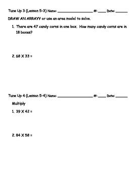 Math Tune Ups - McGraw Hill Ch. 5 Multiplication with a Two-Digit Number