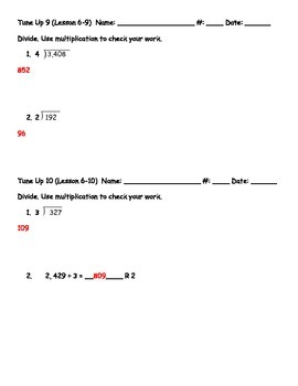 Math Tune Ups - McGraw Hill Ch. 6 - Division with a One-Digit Number