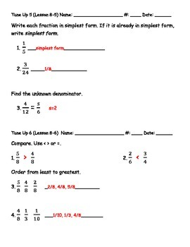 Math Tune Ups - McGraw Hill Ch. 8 - Fractions