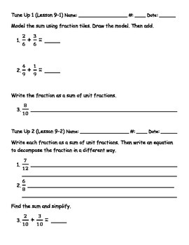 Math Tune Ups - McGraw Hill Ch. 9 Operations with Fractions