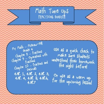 Math Tune Ups - McGraw Hill FRACTIONS Bundle - Ch  8, 9 and 10!