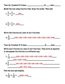 Math Tune Ups - McGraw Hill FRACTIONS Bundle - Ch. 8, 9 and 10!