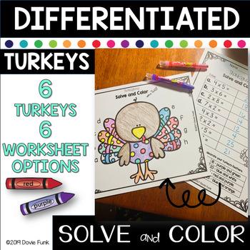 Math Turkey Art Solve & Design Project - Addition & Subtraction Worksheets
