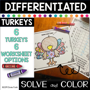 Thanksgiving Math Coloring Worksheets- Addition Subtraction