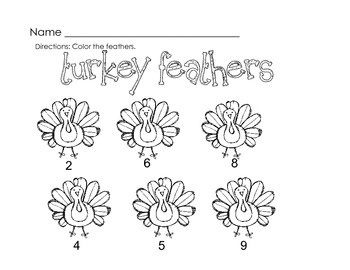 Math Turkey Feathers Counting