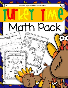 Turkey Time Math Packet; Thanksgiving Worksheets and Centers
