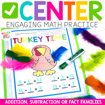 Math Turkey for Addition, Subtraction, and Fact Families