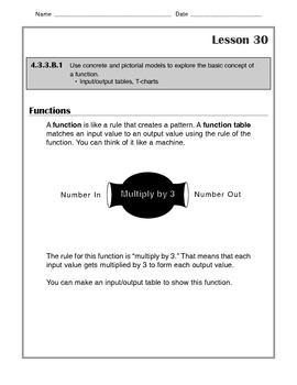 Math -Tutorial and Practice: Functions-Input/Output Machines, T-Charts