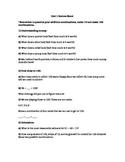 Math Unit 1 Review Sheet or Pre-Test