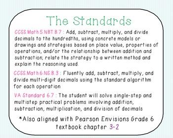 Math Unit: Adding and Subtracting Decimals BUNDLE